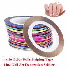 30 Pcs Mixed Colors Nail Art Tips Decoration Rolls Striping Tape Line Sticker D~