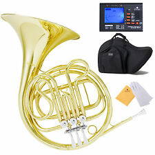 Mendini Single F-Key French Horn Gold School Band+Tuner