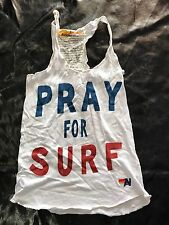 AVIATOR NATION PRAY FOR SURF TANK TOP SMALL crop t shirt vintage white blue red