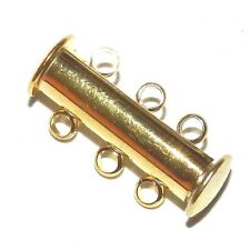 M5121L2 Gold 20mm 3-Strand Magnetic Slide Lock Plated-Brass Metal Clasp 10/pk