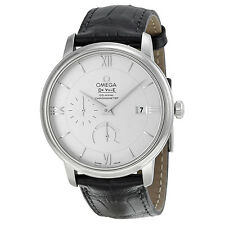 Omega De Ville Prestige Silver Dial Black Leather Mens Watch 424.13.40.21.02.001