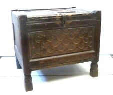 Genuine Antique Panel Small Coffer / Chest /Dowry box