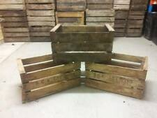 "VINTAGE WOODEN ""PRE WAR"" APPLE FRUIT CRATES RUSTIC OLD BUSHEL BOX SHABBY CHIC"