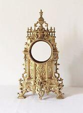 Ancien Corps de Pendule Gothique Bronze Cathédrale Horloge Violet Le Duc 19 eme
