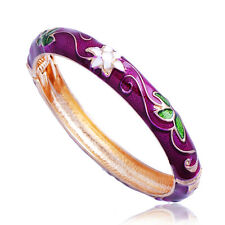 Womens Fashion bracelet jewelry Gold plated Multicolor Enamel flower bangle
