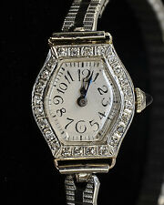Vintage Elegant Diamond 14k White Gold Ladies Watch*