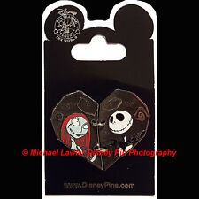 DISNEY JACK & SALLY TWO PIECE HEART PIN NIGHTMARE BEFORE CHRISTMAS VALENTINE'S