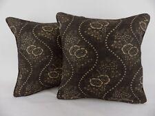 """Vintage Black Ralph Lauren Etienne Floral Stripe Large 18"""" Pillow Cushion Covers"""