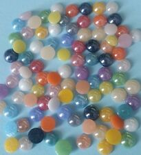 100 GLASS CABOCHONS 4-5mm Round ~ Flatbacked Pearlised Glass ~ Mixed Colours