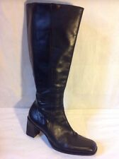 Gianni Bini Black Knee High Leather Boots Size 8M (Uk Size 6)
