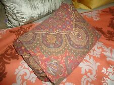 VINTAGE RALPH LAUREN EQUESTRIAN TERRACOTTA GREEN GOLD PAISLEY FULL FITTED SHEET