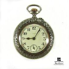 Antico orologio da tasca Hungaria Argento Foglio DECORO NOUVEAU funzionante
