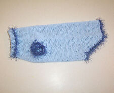 Hand Crochet Baby Blue Dog Sweater Medium Pet