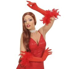 Red Long Gloves with Feathers Charleston Flapper 1920 Burlesque Fancy Dress