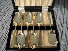 Sheffield England Antique Silver plate Fruit Spoons Raimond Fabric & Felt Lining