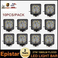 10PCS 27W Square LED Work Light Flood Offroad ATV Boat Lamp SUV 12V 24V 4X4 EP