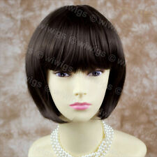 Lovely Silky Short Bob Dark Coffee Brown Ladies Wigs Skin Top from WIWIGS UK
