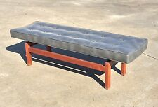 RISOM Vtg Mid Century Modern Tufted Wood Bench Stool Sofa Chair Nelson Baughman