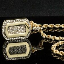 "Mens Hip-Hop 14K Gold Plated Iced ""0"" Pendant w/ 6mm/24"" Cuban Chain"