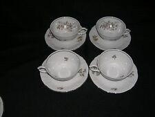 set of 4 Winterling China Empress Platinum Maria Theresia CUPS & SAUCERS