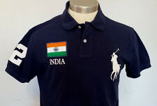 POLO RALPH LAUREN MEN'S BLACK POLO WITH INDIA EMBROIDERY BIG & TALL SZ XLT TALL