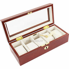 Mele & Co uomo 5 Watch Box Lucchetto RAME Marrone Legno Vetro Display Custodia Regalo