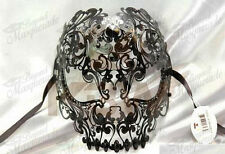 Mens Luxury Metal Skull Venetian Black Masquerade Mask [Black Rhinestones]