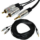 33Ft 10m Premium 3.5mm stereo male Jack To 2 RCA male Audio OFC Cable Ipod MP3