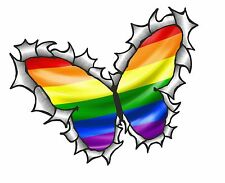 BUTTERFLY Ripped Torn Metal Design & LGBT Gay Pride Rainbow Flag car sticker
