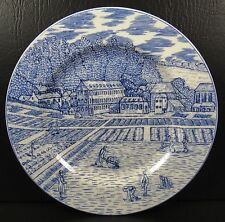 American Atelier English Blue Toile Salad Plate Farmers in the Field