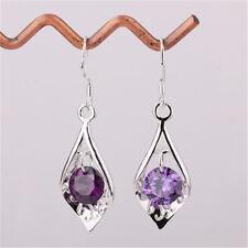 Hot Delicate Purple Crystal Drop Dangle S925 Women Earrings Solid Silver Jewelry