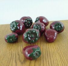 9 Piece Hand Crafted Ceramic Strawberrys Life Size Fake Red Fruit Decoration