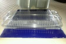 10 HINGED traybake shortbread CONTAINERS Plastic food packaging display boxes,