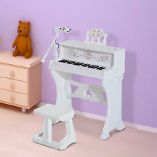 HOMCOM 37 Key Keyboard Electronic Piano Kids Microphone Stool Music Stand White