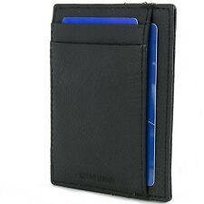 Mens Leather Minimalist Wallet Card Case Thin Slim Organizer Front Pocket Wallet