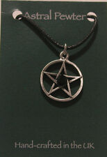 Light Jet Crystal Pentagram Gothic black cord grey pewter pendant
