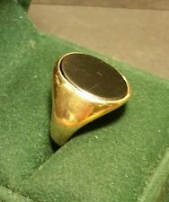 Mens Vintage Art-Deco 9CT Yellow Gold Black Onyx Signet Gemstone Ring Size O1/2