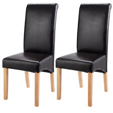 Set of 2 Leather Wood Contemporary Dining Chairs Elegant Design Home Room Brown