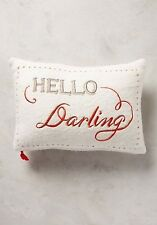 NIP Anthropologie MERRY SENTIMENTS PILLOW Wool Embroidered HELLO DARLING Oblong
