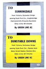 1938 LONDON TRANSPORT GREEN LINE POSTER ROUTE A2 SUNNINGDALE H2 DUNSTABLE DOWNS
