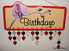 Orchid Family Birthday Calendar, Personalised Board-Handmade with hearts