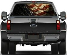 American Flag Prairie Gold Stone Rear Window Graphic Decal  Truck