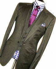 LUXURY MENS TED BAKER LONDON STONED CHARCOAL GREY 3 PIECE FIT SUIT 40L W34 X L34