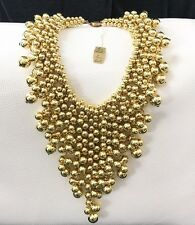 RARE Miriam Haskell Gold Bead Cluster Cascading Bib Necklace RUNWAY STATEMENT