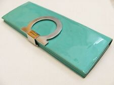 Salvatore Ferragamo Green Patterned Leather Clutch Evening Bag