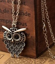 Vintage Silver Owl Pendant Necklace Long Chain Ladies Costume Jewellery UK