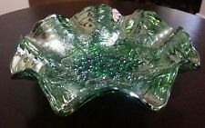 Vintage Carnival Glass Green Fruit Bowl with gorgeous grapes design