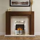 ELECTRIC WALNUT WOOD SURROUND CREAM IVORY SILVER LED MODERN FIRE FIREPLACE SUITE