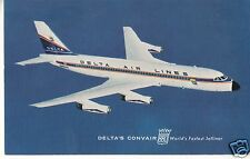 DELTA AIR LINES issued  POST CARD CONVAIR 880 Jetliner N8802E 1960s Livery