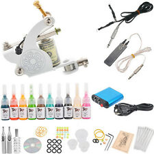 Tattoo Kit Machines 10 Inks Power Supply Needles Set Beginner Tattoo Equipment